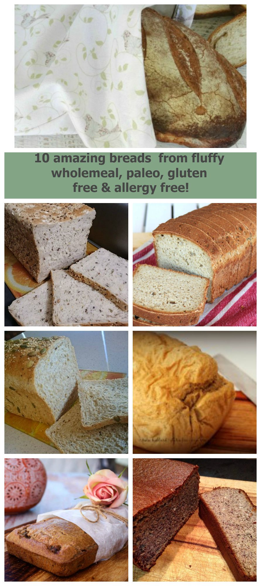 10 Delicious Breads. Wholemeal, Paleo, Glutenfree & Allergy Free