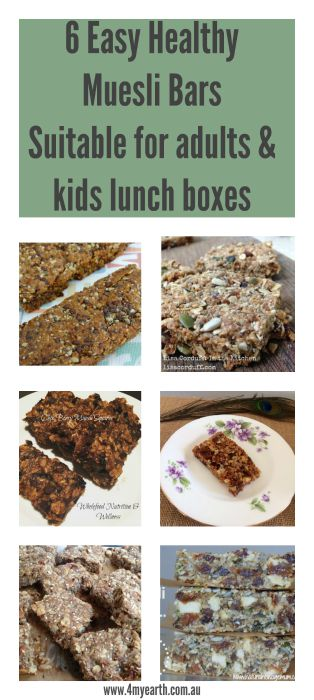 6 Easy Healthy Muesli Bars  Suitable for adults & kids lunch boxes.