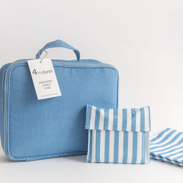 Denim lunch case with wrap